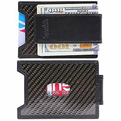 Kinzd Wallets Mens Slim Money Clip Front Pocket Wallet, Carb