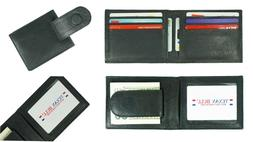 Leather Bifold Slim ID Card Holder Front Pocket Black Men's