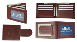 Leather Bifold Slim ID Card Holder Front Pocket Brown Men's