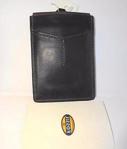 Fossil Leather Credit Card Case w/ Magnetic Money Clip Faded