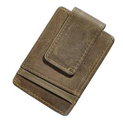 Le'aokuu Mens Genuine Leather Cowhide Magnet Money Clip Cred