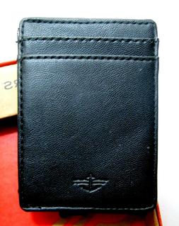 DOCKERS Leather Magnetic Black Money Clip Card Case Wallet N