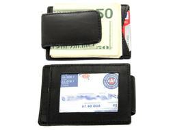 Leather Magnetic Money Clip Credit Card ID Holder Black Men'