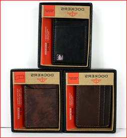 Dockers LEATHER Men's Slim Magnetic Card Case Front Pocket W
