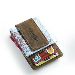 Leather Money Clip, Front Pocket Wallet Credit Card Case Hol