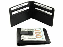 Leather Money Clip Slim Design Credit Card Id Holder Black M