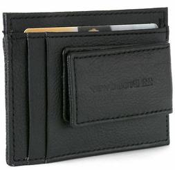 Leather Money Clip Wallet Card Case ID Window Strong Rare Ea