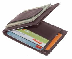 Leather Slim Bifold Card Holder Front Pocket Money Clip Mens