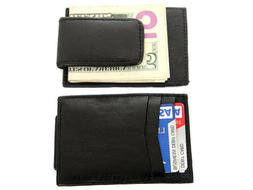 Leather Slim Design Magnetic Money Clip 3 Credit Card Holder