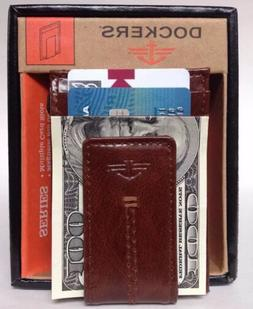 DOCKERS Leather Slim Magnetic Money Clip Card ID Case Front