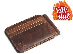 Men's Leather Slim Spring Money Clip Wallet Front Pocket Cre