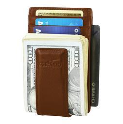 LEATHER WALLET For MEN ID Card Slim MONEY CLIP Front Pocket