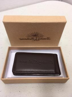 magnetic 100 percent leather money clip chocolate
