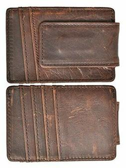 Magnetic Money Clip RFID Front Pocket Wallet Men's Leather S
