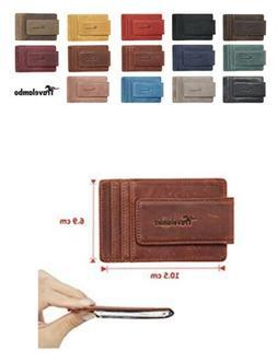 Travelambo Magnetic Money Clip Vintage Khaki RFID Blocking
