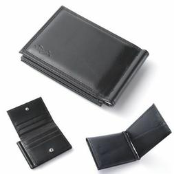 Men Bifold Genuine Leather Slim Wallet Money Clip ID Credit