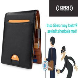 Men Bifold Slim Mini Wallet with Money Clip RFID Blocking Cr
