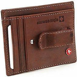 Alpine Swiss Men's Brown Leather Slim And Thin Money Clip Fr