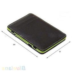 Men's Faux Leather Magic Credit Card Id Money Clip Slim Wall