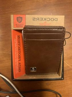 Dockers  Men's  Front Pocket Wallet,Brown Magnetic Plaque