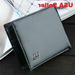 Men's Genuine Black Leather Bifold Slim Wallet Credit Card I