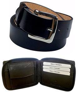 Men's Genuine Leather Black Belt Silver Buckle With Zipper A