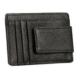 Men's Genuine Leather Money Clip RFID Blocking ID Card Front
