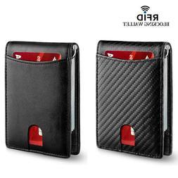 Men's Genuine Leather Slim Billfold RFID Blocking Card Holde