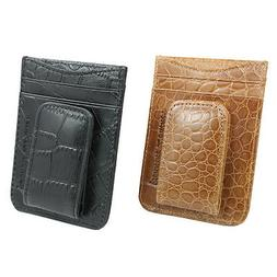 Men's Genuine Leather Wallet ID Credit Card Holder with Magn