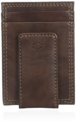 Dockers Men's Glazed Rustler Magnetic Money Clip Wallet, Bro