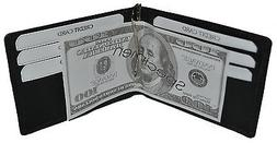 Men's Leather Bifold Black Money Clip Wallet ID Credit Card