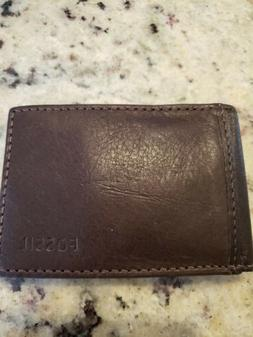 FOSSIL - Men's Leather Bifold Wallet-Brown-Money Clip-ID Car