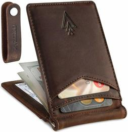 Men'S Leather Rfid Money Clip Slim Wallet With Leather Keych