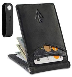 men s leather rfid money clip slim