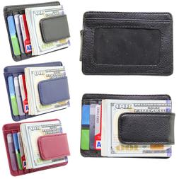 Men's Leather Slim Front Pocket Wallet ID Credit Card Holder