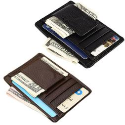 Men's Leather Slim Magnetic Money Clip Front Pocket Wallet I