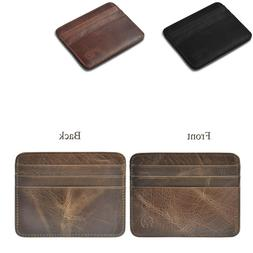 Men's Leather Slim Money Wallet Front Pocket Wallet Thin Cre