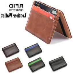 Men's Leather Wallet Magic Money Clip Slim ID Credit Card Ho
