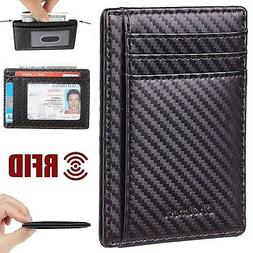 Men's Leather Wallet Money Clip ID Front Pocket Credit Card