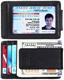 Kinzd Men's Leather Wallet Slim Magnet, Money Clip RFID Cred
