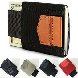 Men's Minimalist Wallet Money Clip Coin Front Pocket Slim Cr