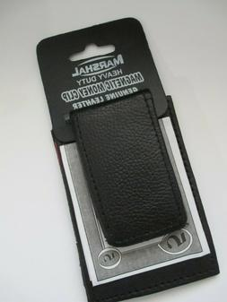 MEN'S MONEY CLIP, GENUINE LEATHER: HEAVY DUTY MAGNETIC, CRED