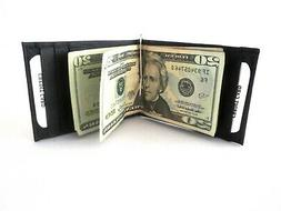 Money Clip Wallet Bifold ID Credit Card Money Holder Black G