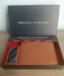TOMMY HILFIGER Men's Passcase Wallet w/Money Clip *Tan Genui