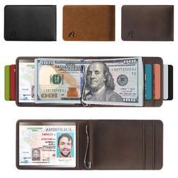 Men's Real Genuine Leather RFID Blocking Bifold Money Clip W