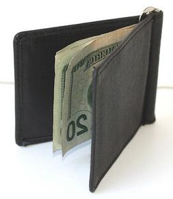 MEN's SOLID GENUINE LEATHER SPRING MONEY CLIP Front Pocket P