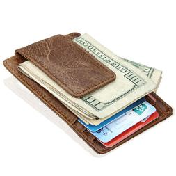 Men's Vintage RFID Blocking Magnetic Money Clip Leather Slim