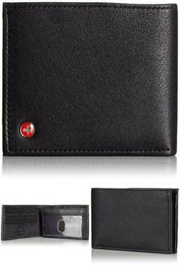 Men's Wallet Bifold ID Card Window Secure Zipper Leather Zip