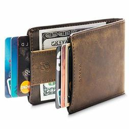 Huskk Men's Wallet Money Clip Strap, Slim RFID Dark Brown Cr
