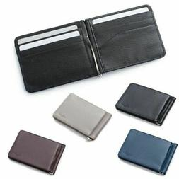 Men Slim Leather Bifold ID Credit Card Wallet with Removable